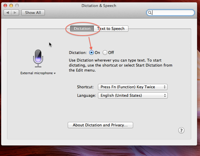 Dictation Feature in OS X