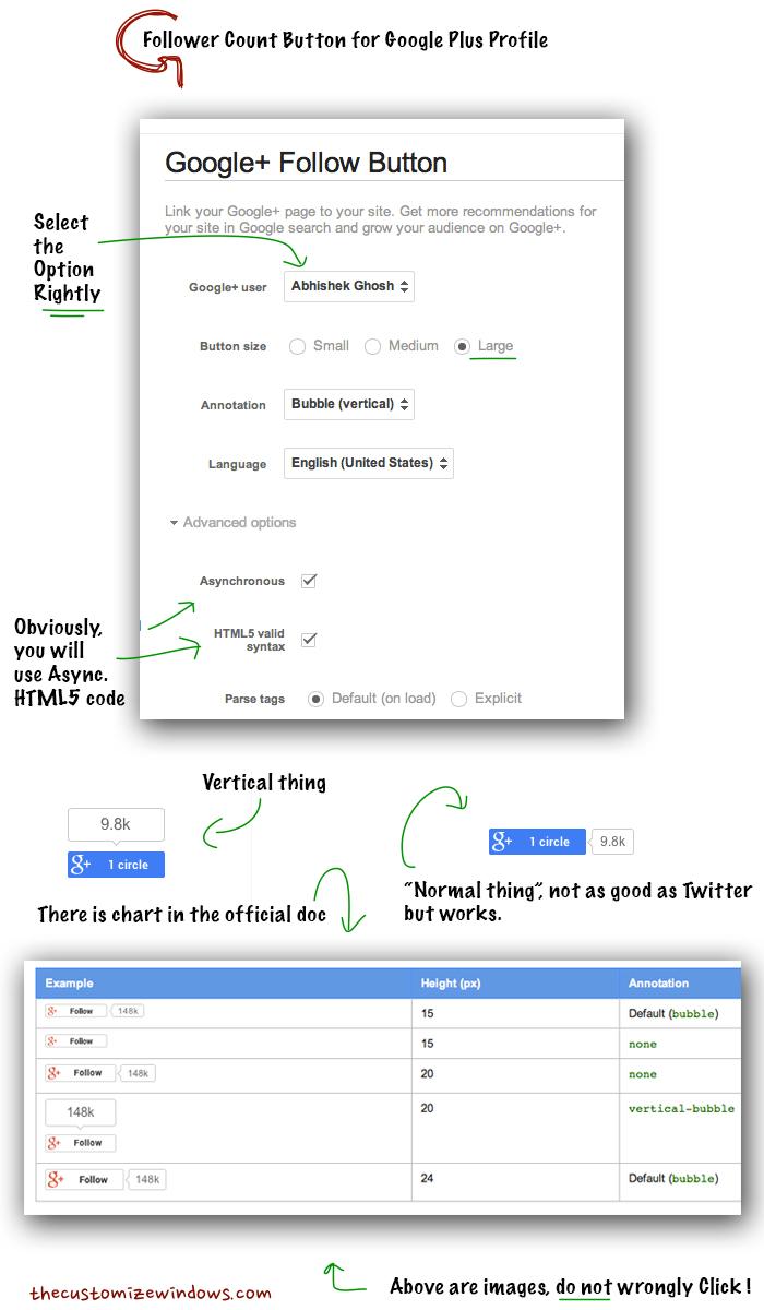 Follower Count Button for Google Plus Profile