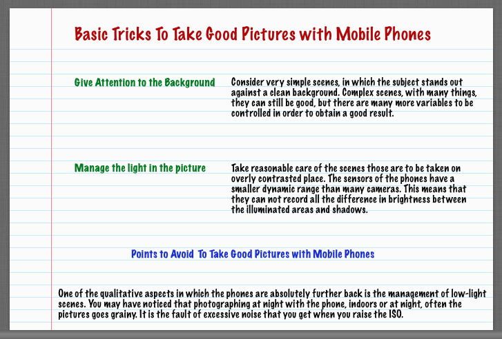 Basic Tricks To Take Good Pictures with Mobile Phones