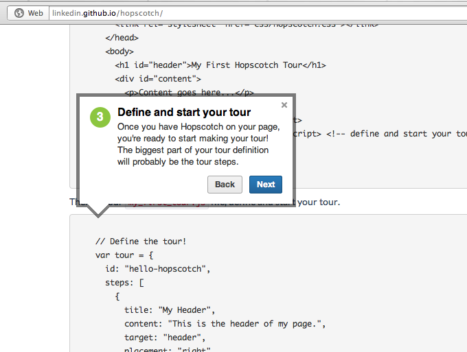 Add Product Tours to Pages using Hopscotch