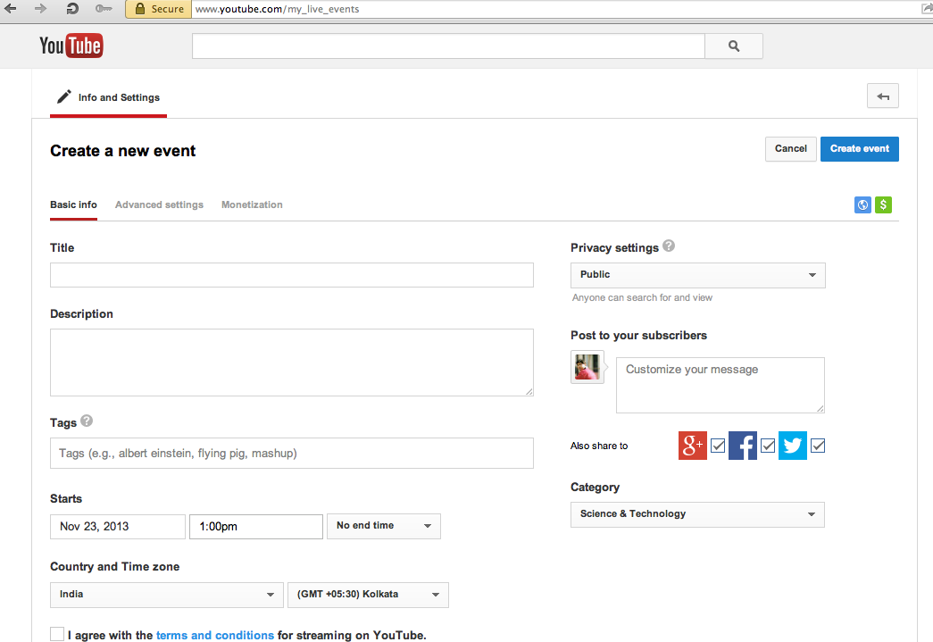 Create YouTube Live Events
