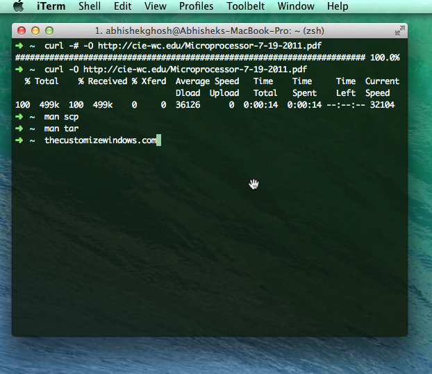 OS X Terminal Download File Commands