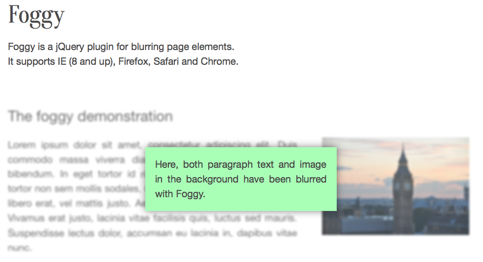Blurred Text of Content Area With jQuery and HTML5
