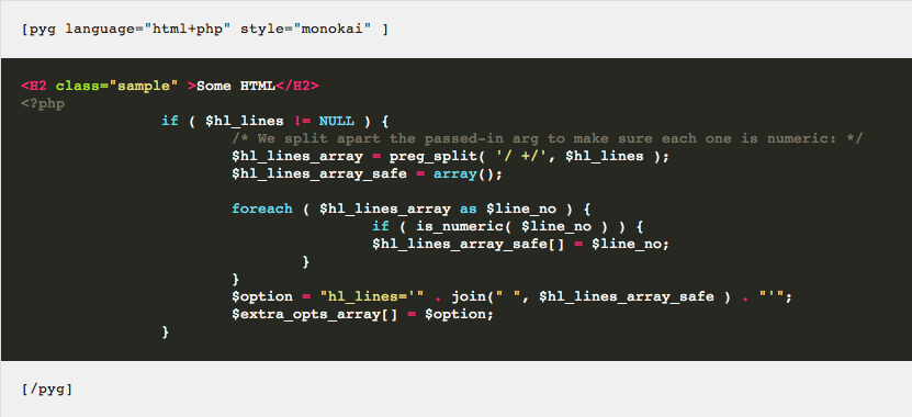 WordPress Pygments Syntax Highlighting