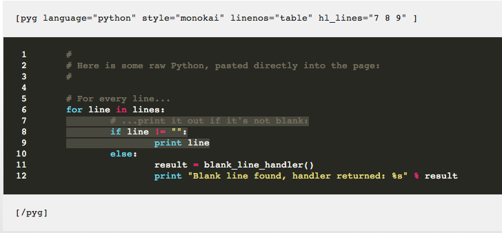 Pygments Syntax Highlighting in WordPress