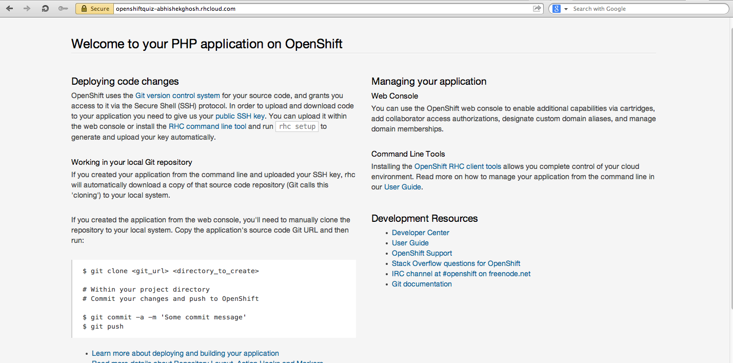 Run Facebook Quiz Application on OpenShift PaaS