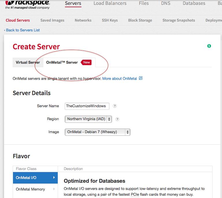 Rackspace OnMetal Server