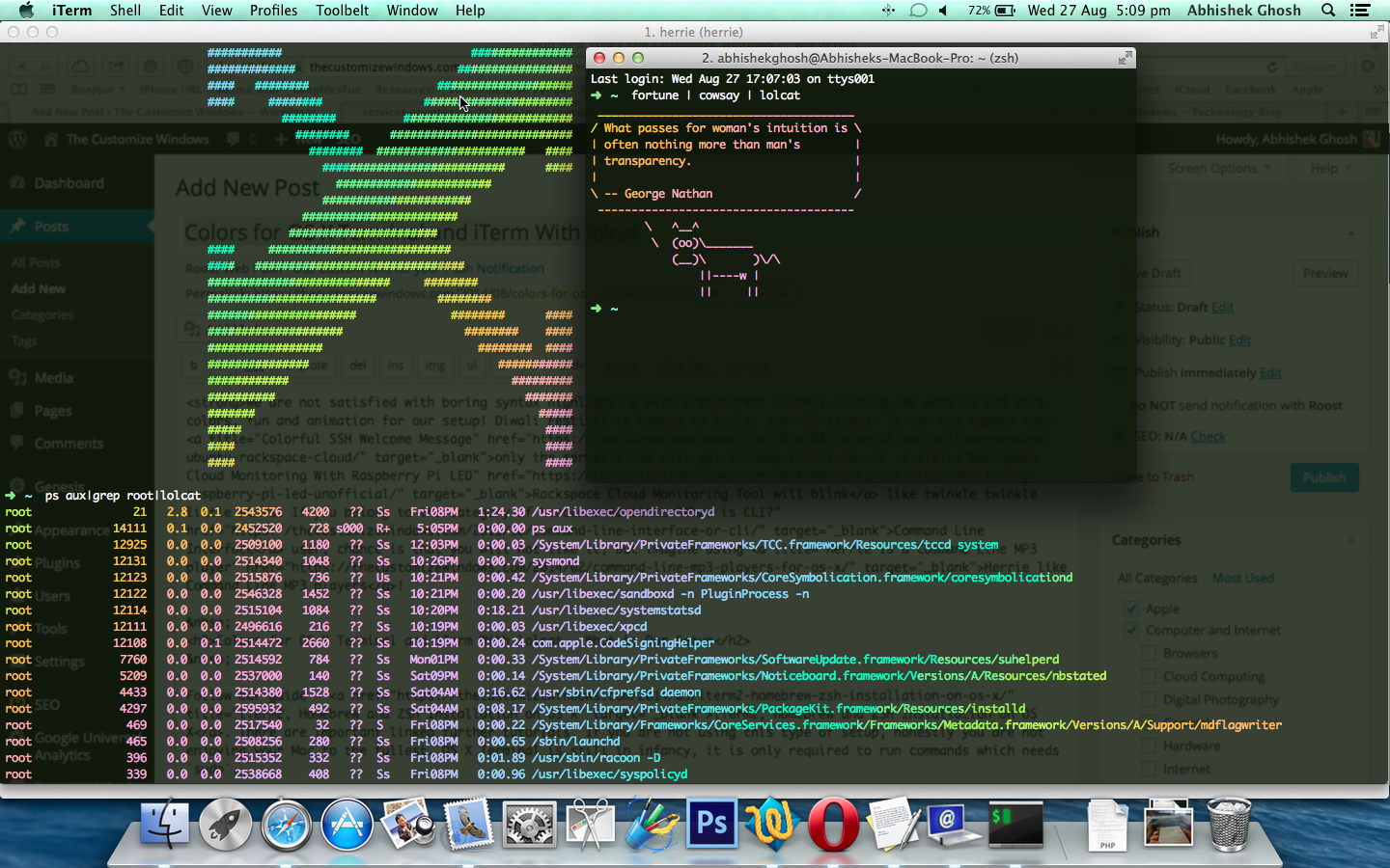 Colors for OS X Terminal and iTerm With lolcat