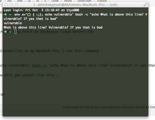 Shellshock Bash Vulnerability Patch (Rackspace Cloud Server)