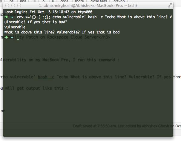 Shellshock Bash Vulnerability Patch (Rackspace Cloud Server)