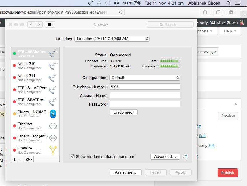 Reliance 3G USB Modem With OS X Yosemite