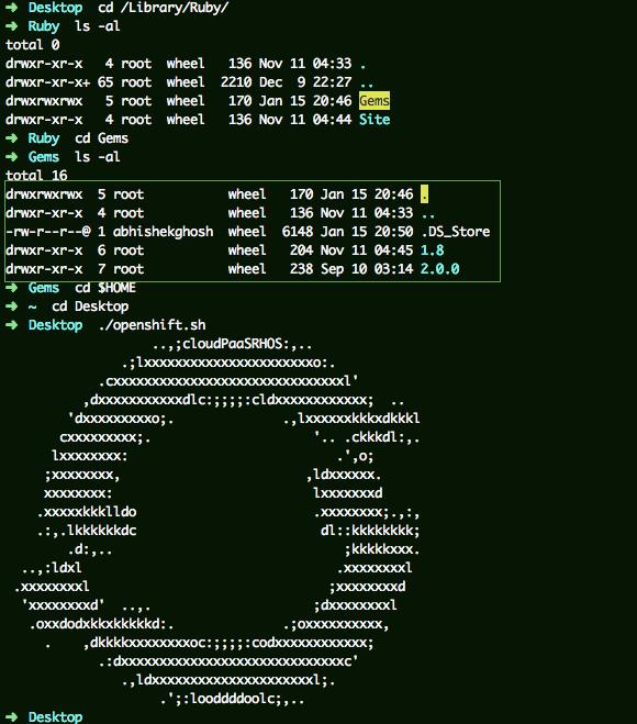 RedHat OpenShift ASCII Logo and Shebang Script