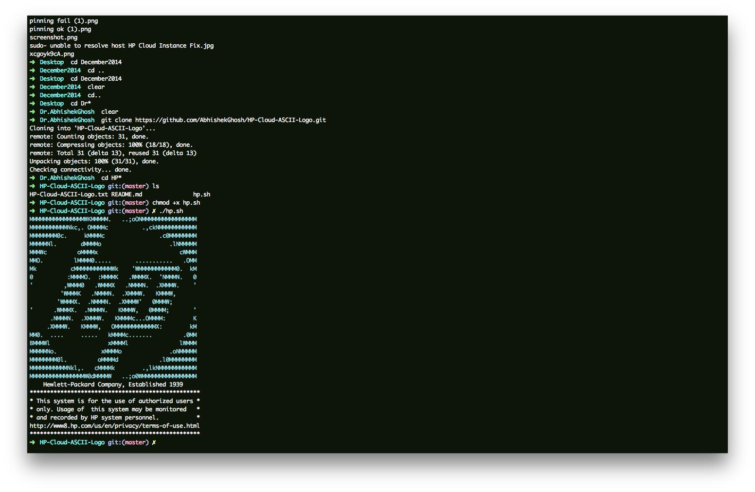 HP ASCII Logo on SSH Pre-Login HP Cloud, Ubuntu