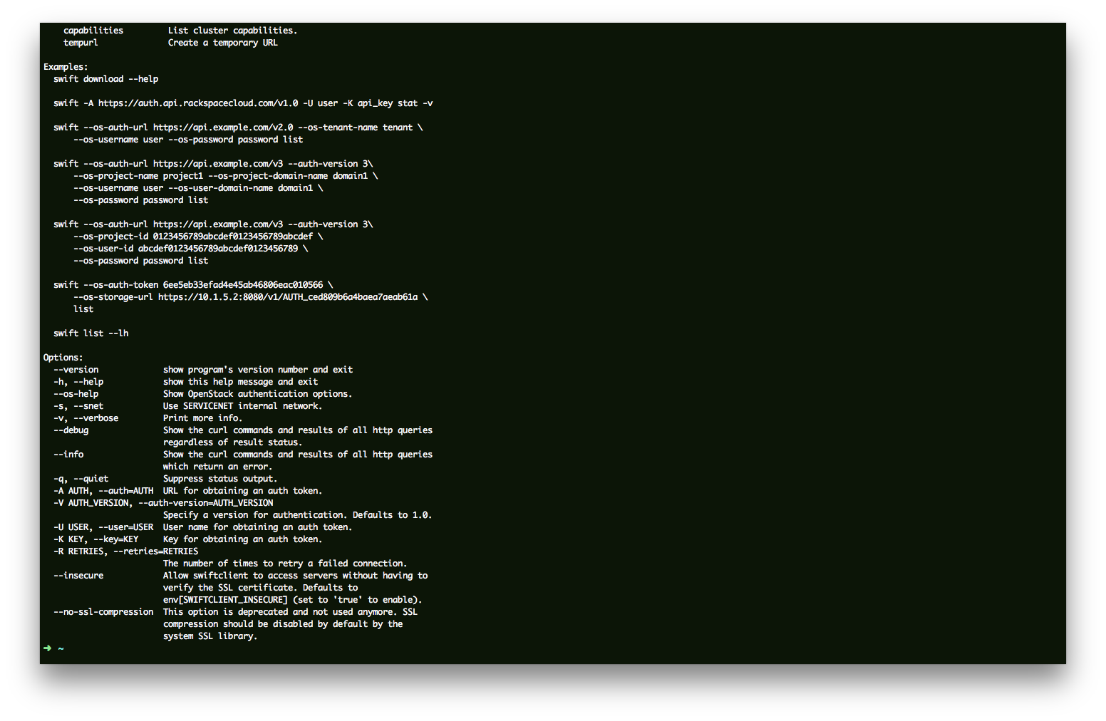 Upload to HP Cloud CDN Using OpenStack Swift Client