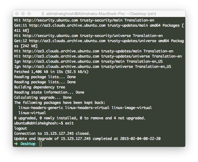 Bash Script to SSH and Update Ubuntu Server (HP Cloud)