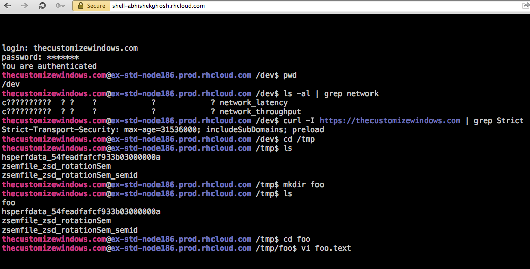 Web Shell For OpenShift PaaS - OpenTerm