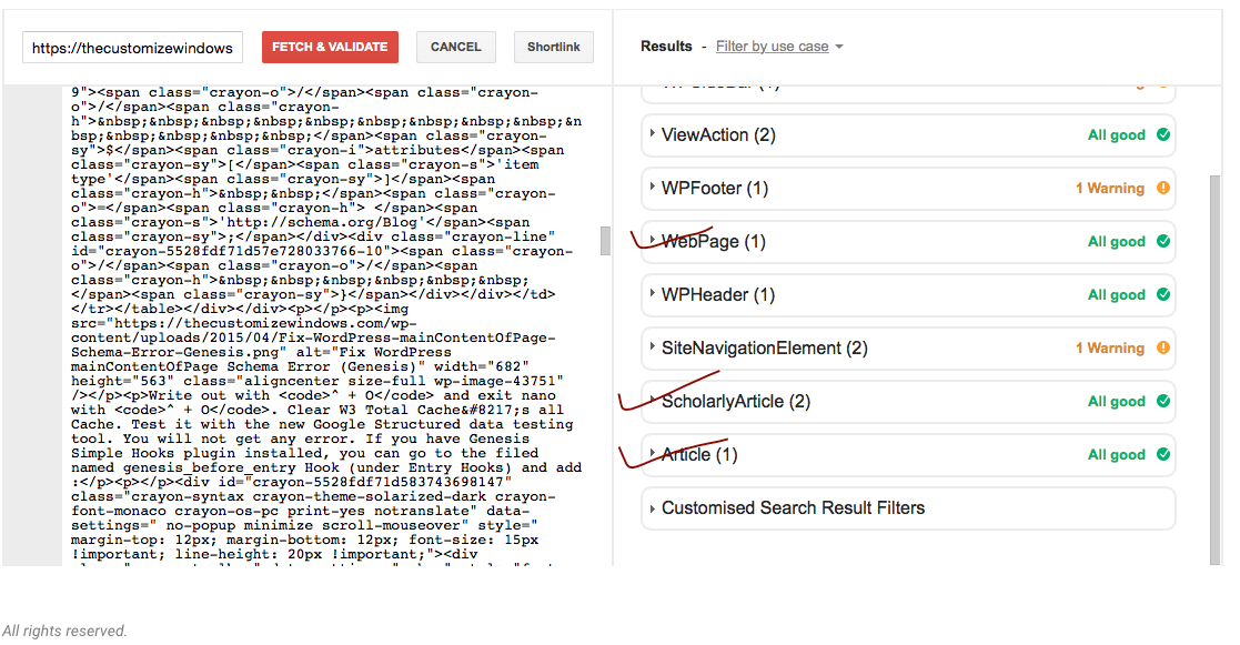 Node is Empty Warning in WordPress Structured Data Testing