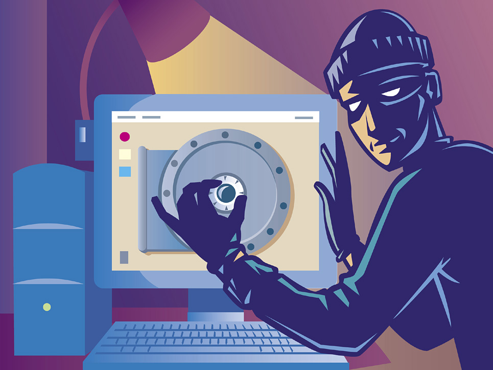 A burglar opening a safe that is a computer screen