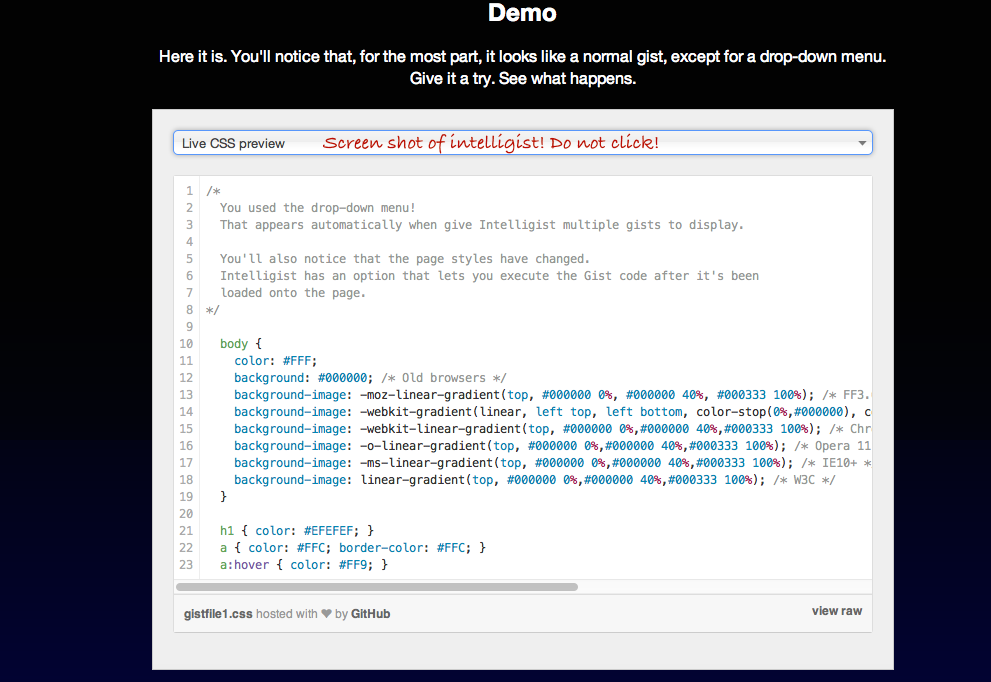 Change Github's Default Gist Style With jQuery Plugins