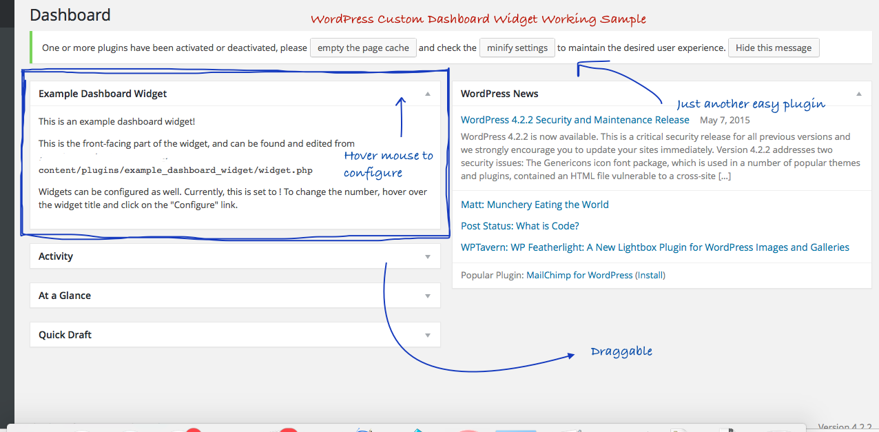 WordPress Custom Dashboard Widget Sample