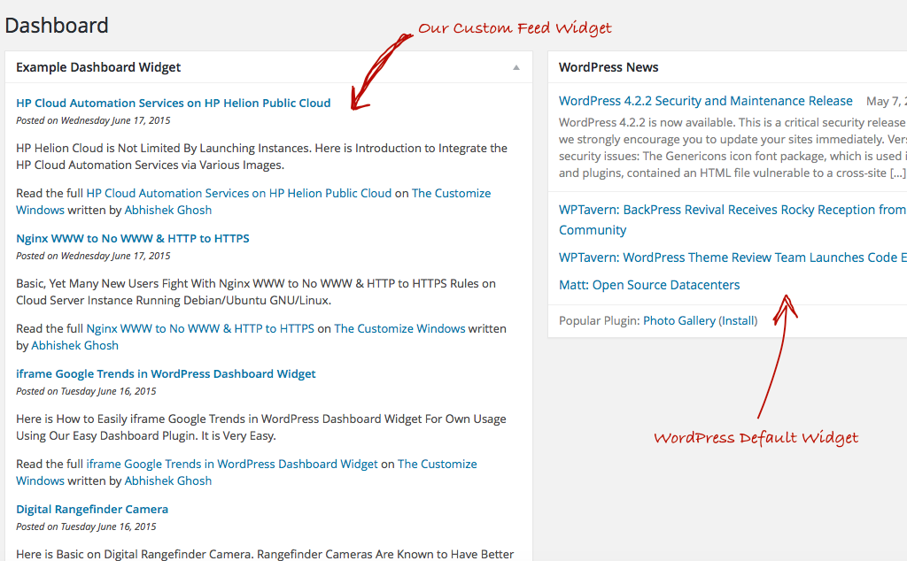 WordPress Dashboard Widget Custom Feed