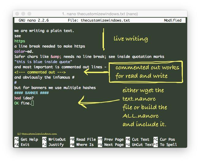 Nano Plain Text Syntax Highlighting nanorc File