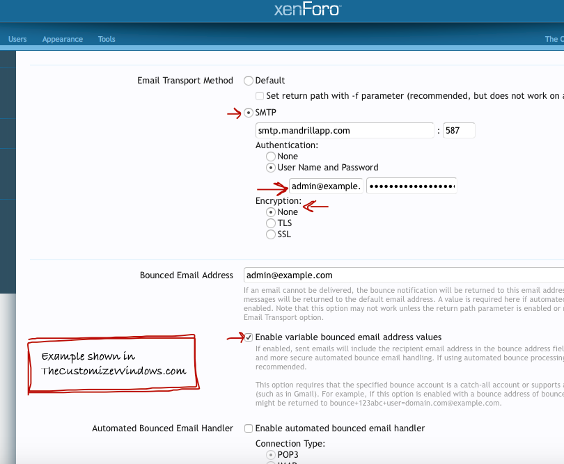 XenForo Mandrill SMTP Settings (Cloud Transactional Email)