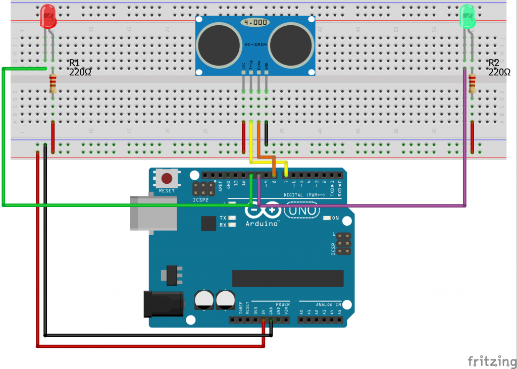 Light a Bulb With Arduino Ultrasonic Sensor HC-SR04