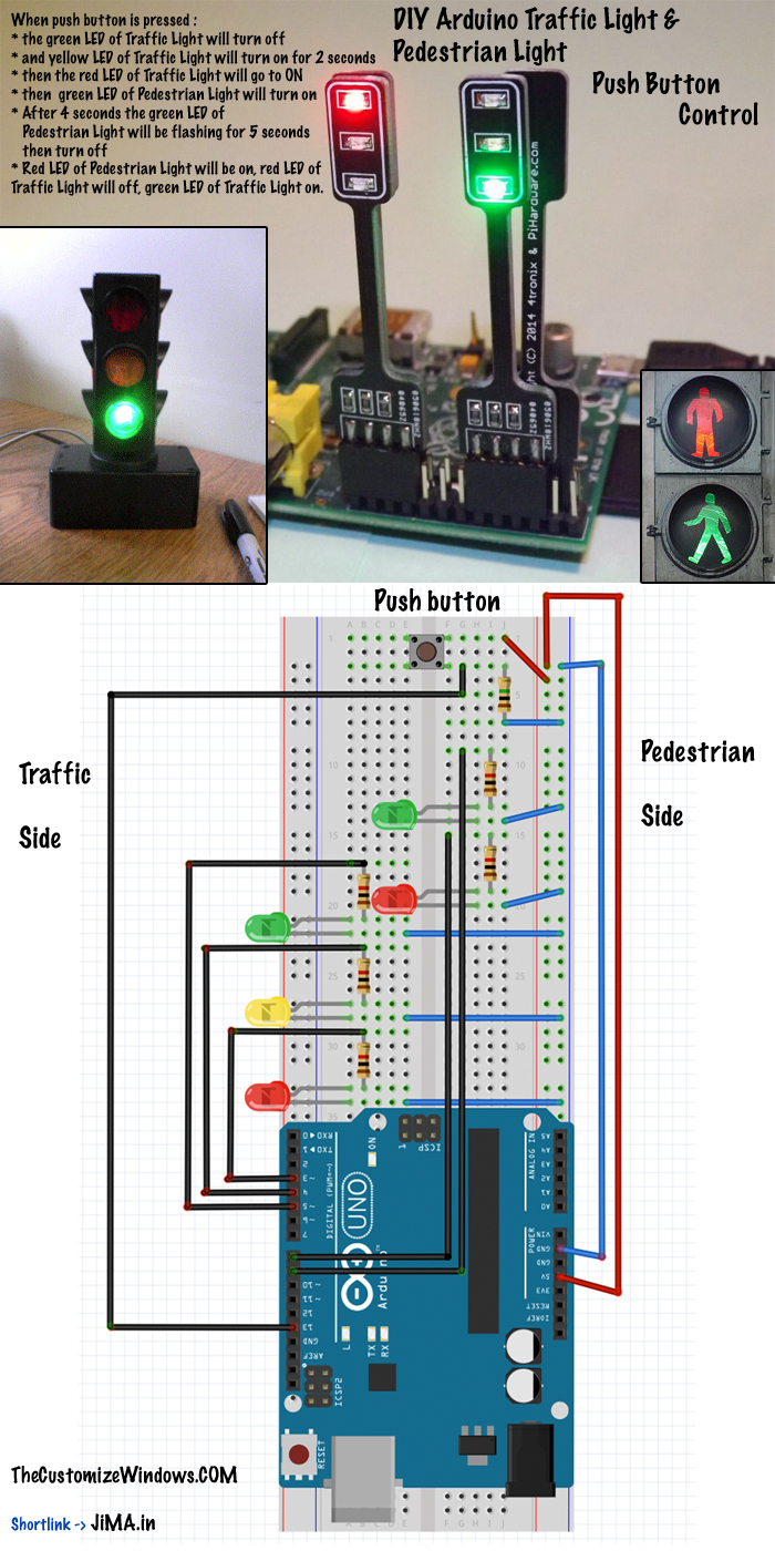Diy Arduino Traffic Light Pedestrian Light Push Button Control