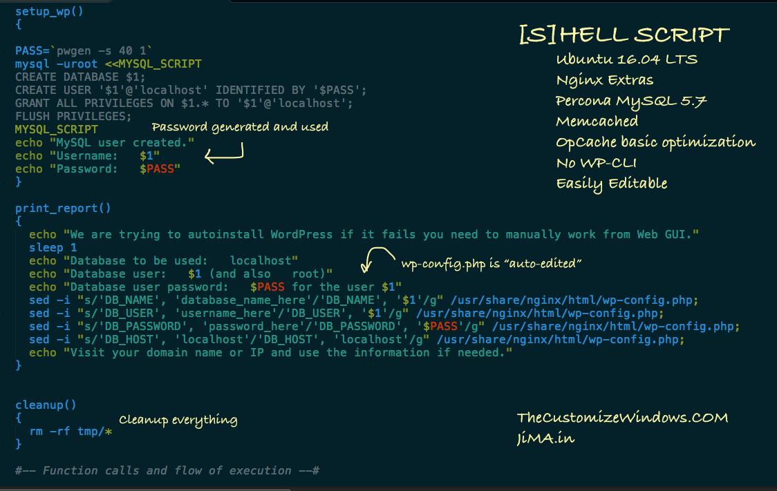 Nginx WordPress Ubuntu 16-04 Auto Install Bash Script