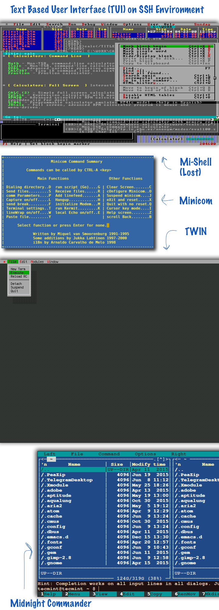 Text Based User Interface TUI on SSH Environment