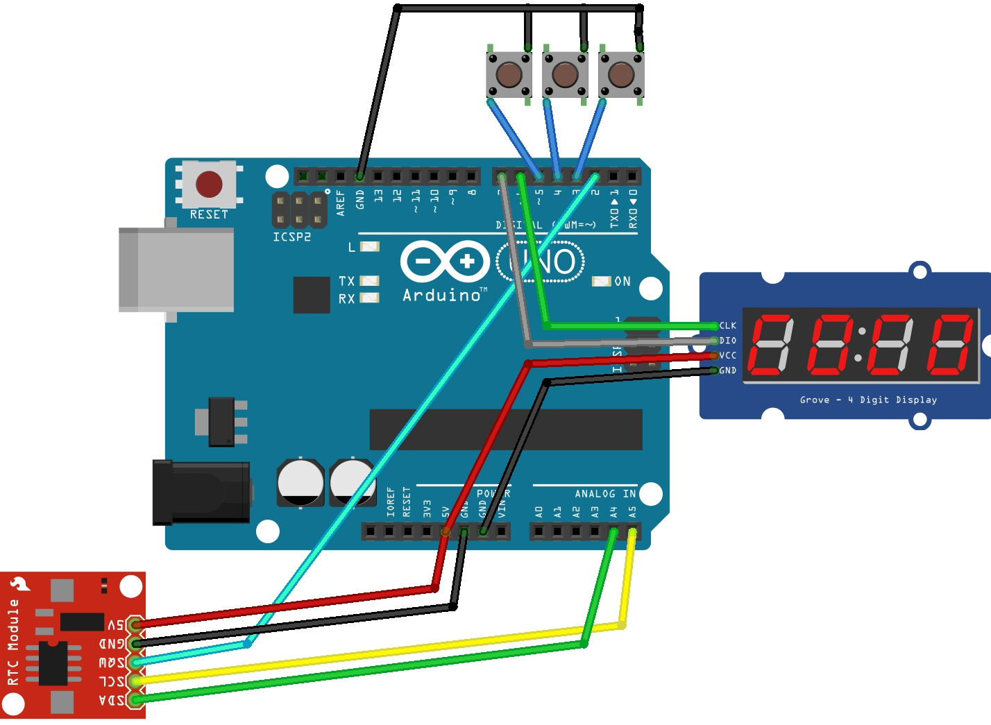 Making a digital clock arduino segment digit tm