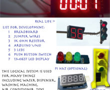 Arduino Traffic Light With LED Display Timer With Push Button Switch