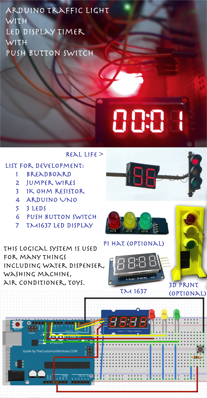 Arduino Traffic Light With Led Display Timer Push Button Switch Seven Segment System