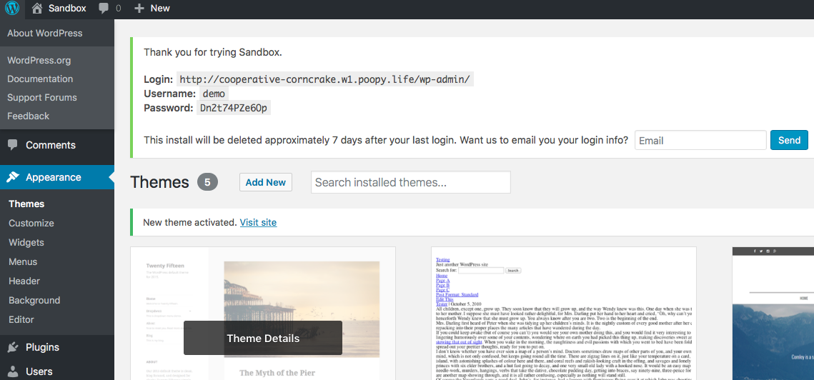 WordPress Test Installs With Poopy-life Free Service