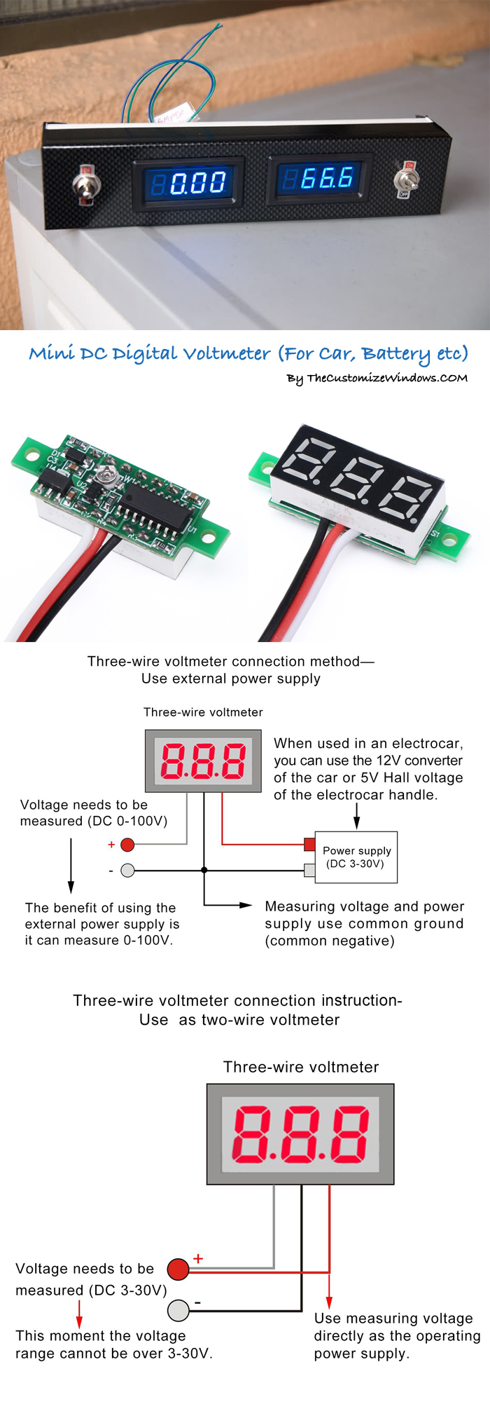 Mini Dc Digital Voltmeter For Car Battery Etc The Customize Windows Schematic Diagram Of Dashboard Can I Create This As Diy Project
