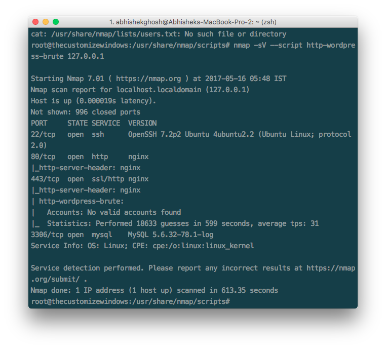 WordPress Security Test with Nmap NSE Scripts