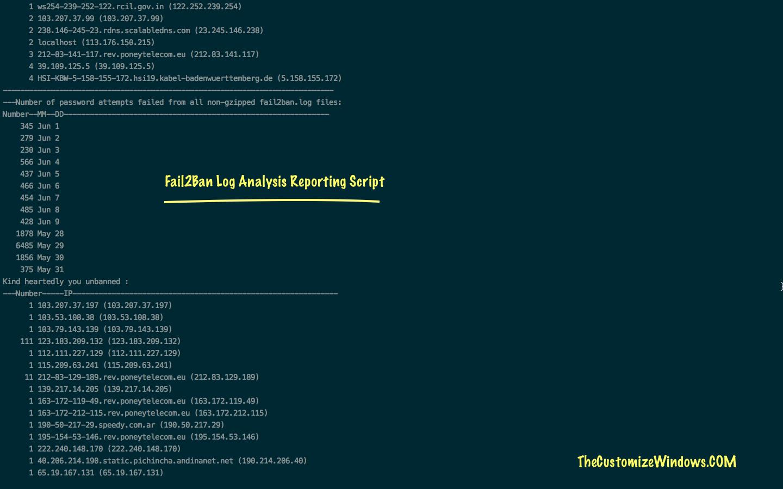 Fail2Ban Log Analysis Bash Script For Report Generation