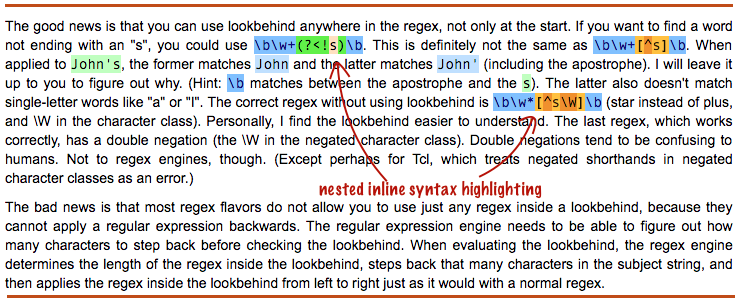 Inline Nested Highlighting In WordPress With CSS HTML5 samp
