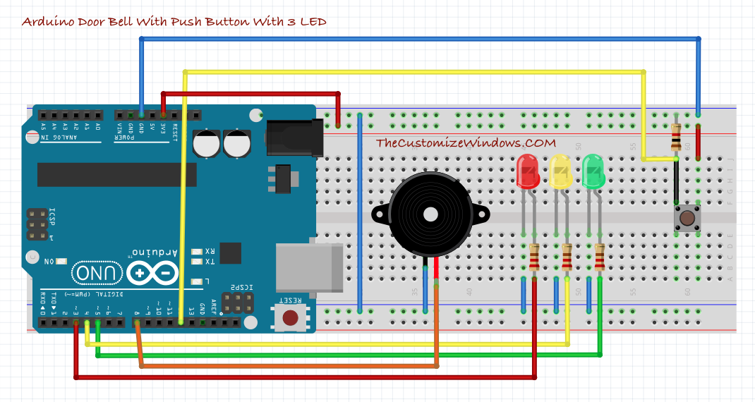 Arduino Door Bell With Push Button With 3 LED