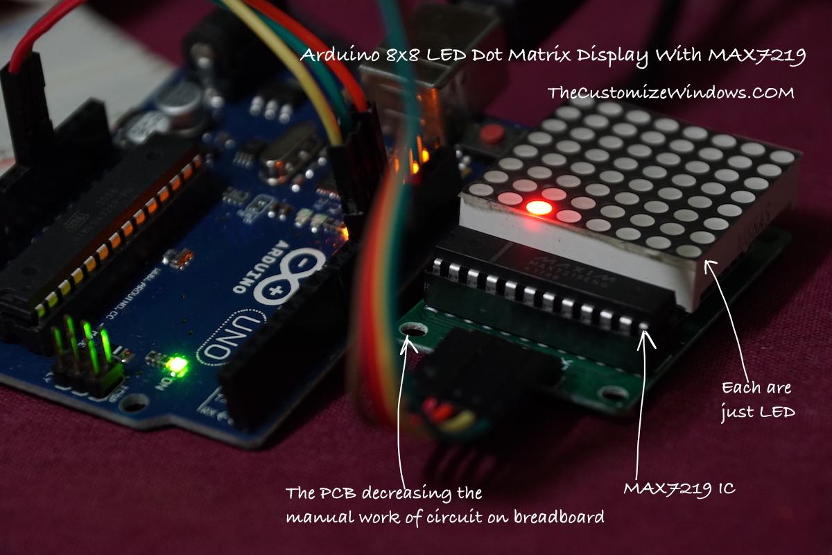 Arduino 8x8 LED Dot Matrix Display With MAX7219