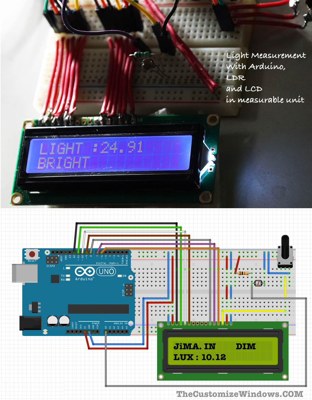 Light-Measurement-With-Arduino-LDR-LCD