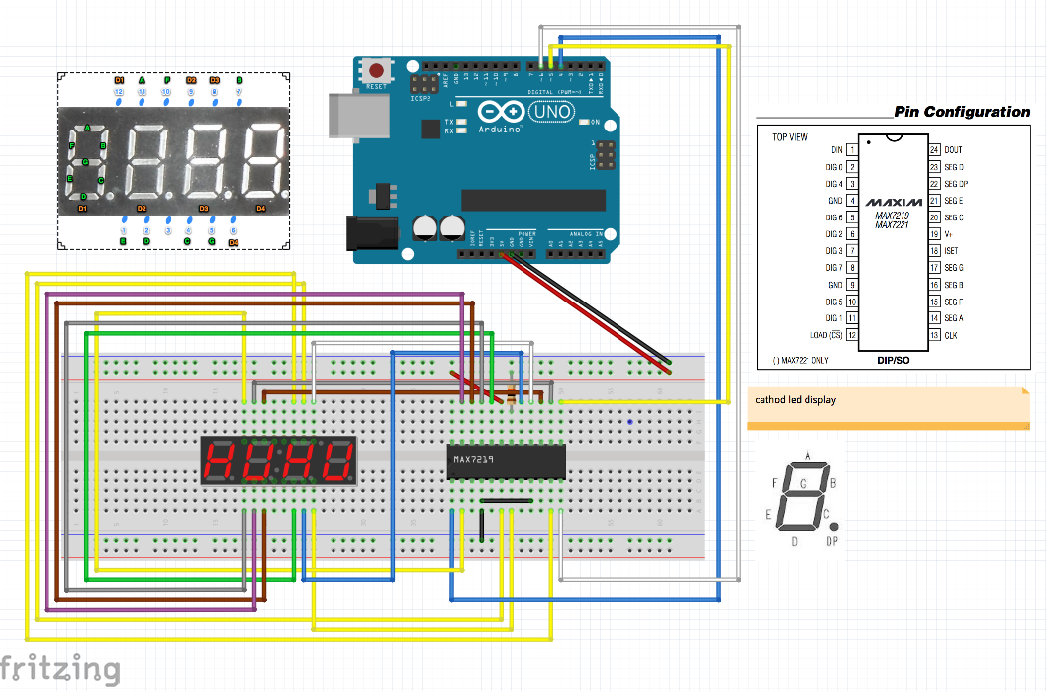 Arduino MAX 7219 CNG Basic Circuit - LED 7 Segment Displays