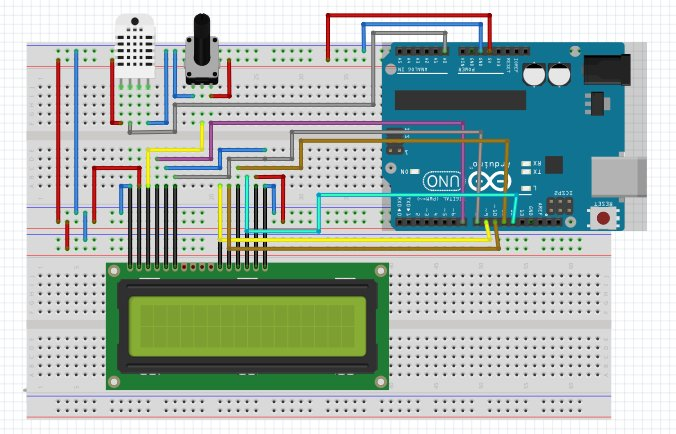 Arduino DHT 11 With LCD 1602A