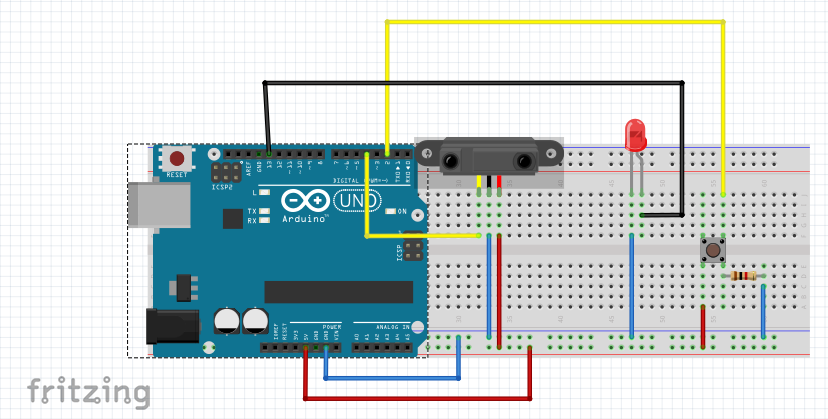 Arduino LED Switch On By Push Button Switch Off By IR Obstacle Sensor