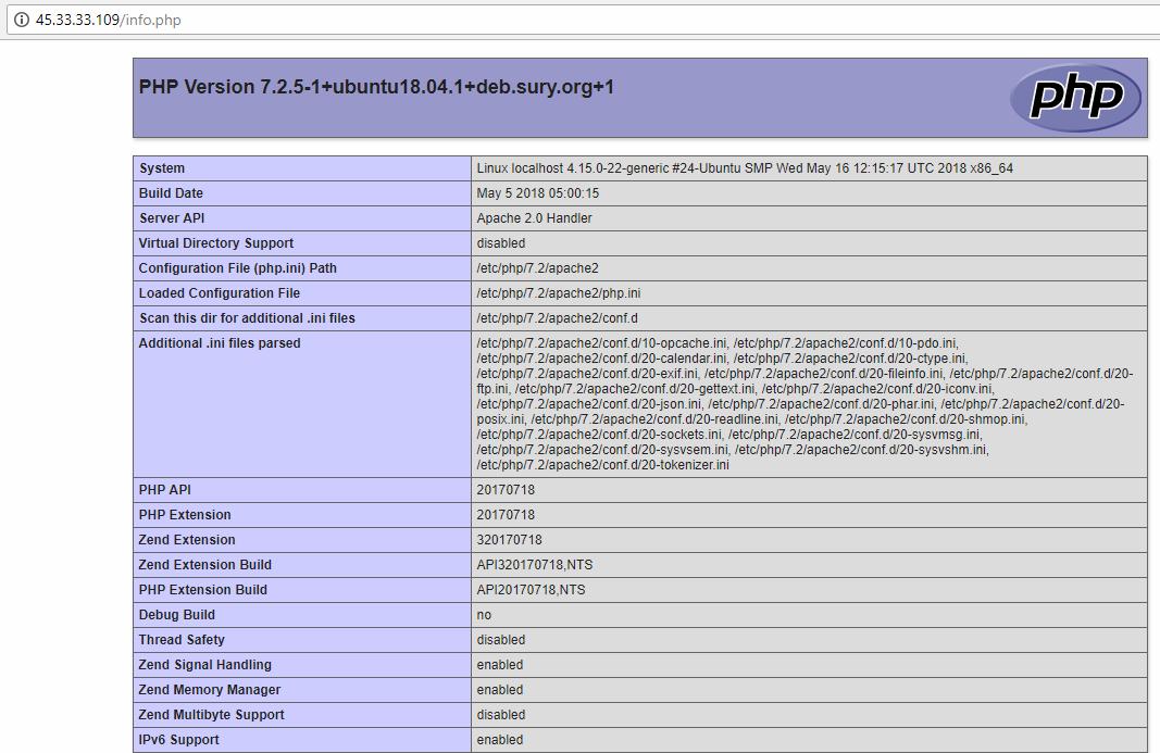 Install PHP 7.2 on Ubuntu 18.-4 LTS Running Apache2 Percona MySQL