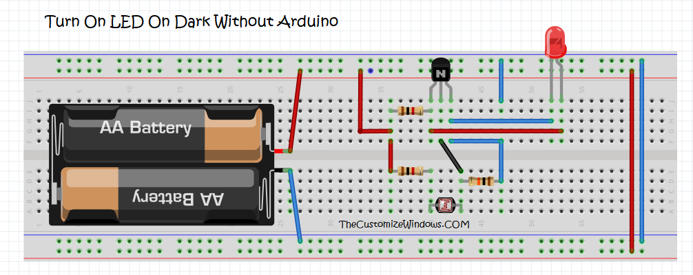 Turn On LED On Dark Without Arduino Program