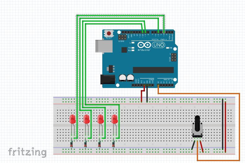 Arduino Make LED ON One at a Time Using a Potentiometer