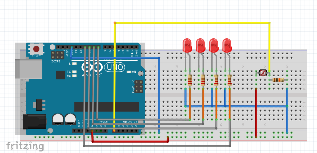 Control Multiple LED Depending on the Level of Light With Arduino