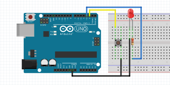 arduino blink led with pushbutton control to turn on and off. Black Bedroom Furniture Sets. Home Design Ideas